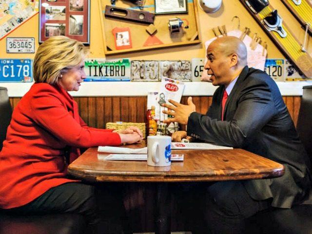 Hillary and Cory Booker Brendan Hoffman Getty