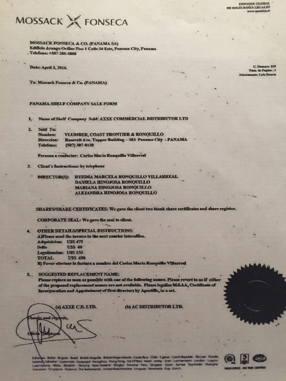 Baltazar Document Mossak Fonseca