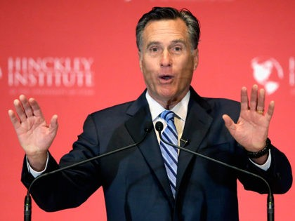 Former Republican presidential candidate Mitt Romney weighs in on the Republican presidential race during a speech at the University of Utah, Thursday, March 3, 2016, in Salt Lake City. The 2012 GOP presidential nominee has been critical of front-runner Donald Trump on Twitter in recent weeks and has yet to …