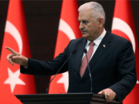 Turkish Prime Minister Binali Yildirim gestures as he delivers a speech during a press conference after a Turkish-Israeli meeting, at the Cankaya Palace in Ankara, on June 27, 2016.