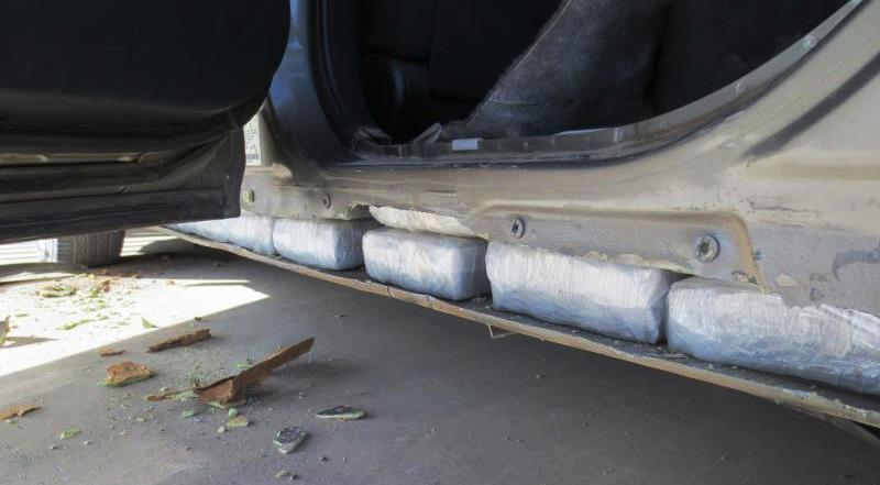 Narcotics hidden in rocker panel of vehicle. (File Photo: CBP.gov)