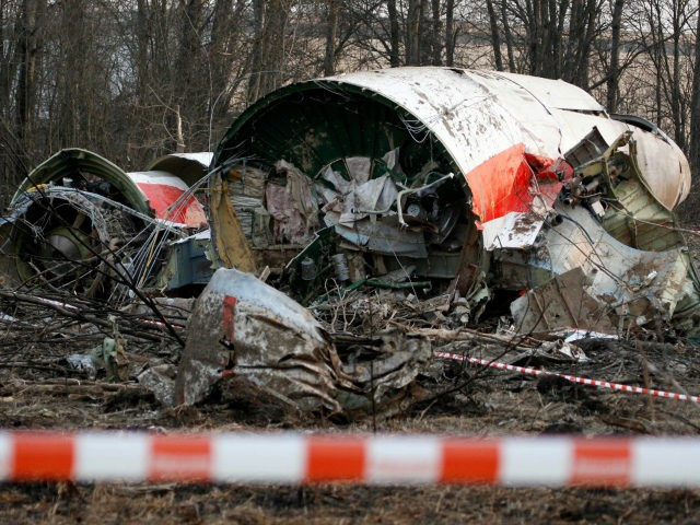 FILE - This is a Sunday, April 11, 2010 file photo of the wreckage of the Polish presidential plane which crashed early Saturday in Smolensk, western Russia. A Polish court Tuesday June 21, 2016 has convicted and handed a suspended prison term to Pawel Bielawny a former deputy head of …