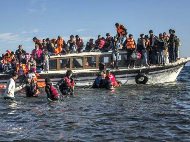 Syrian Refugees on Boat AP