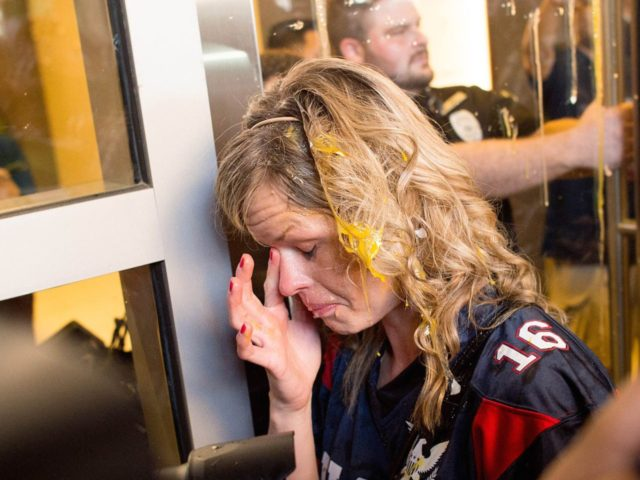 Trump supporter attacked (Noah Berger / Associated Press)