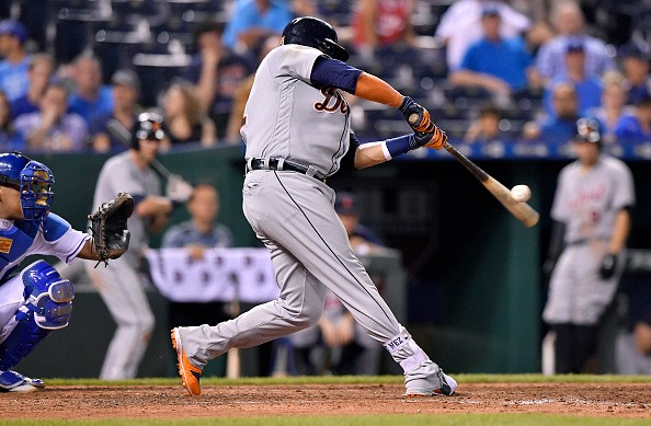 The Detroit Tigers' Victor Martinez connects on his third home run of the game, in the ninth inning off Kansas City Royals relief pitcher Chien-Ming Wang on Thursday, June 16, 2016, at Kauffman Stadium in Kansas City, Mo. (John Sleezer/Kansas City Star/TNS via Getty Images)