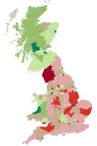 Britain mapped according to Euroscepticism. Areas in green are voting Remain; red areas back Brexit.