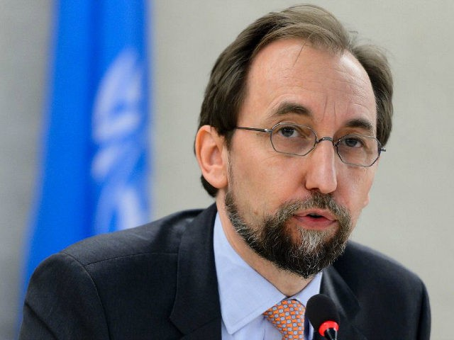 "SWITZERLAND, Geneva : United Nations High Commissioner for Human Rights Zeid Ra'ad Al Hussein delivers a speech at the opening of a new Council's session on June 13, 2016 in Geneva. Registration centers for migrants arriving on the Greek islands from the Turkish coast are essentially ""large areas of forced confinement"", on Monday denounced the UN High Commissioner for Human Rights Zeid Ra'ad Al Hussein. / AFP PHOTO / FABRICE COFFRINI"