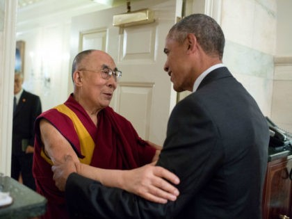 President Barack Obama greets His Holiness the Dalai Lama at the entrance of the Map Room of the White House, June 15, 2016. (Official White House Photo by Pete Souza)