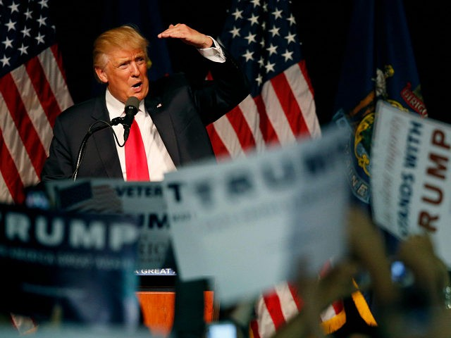 Republican presidential candidate Donald Trump acknowledges the crowd at a rally, Wednesday, June 29, 2016, in Bangor, Maine.(AP Photo/Robert F. Bukaty)