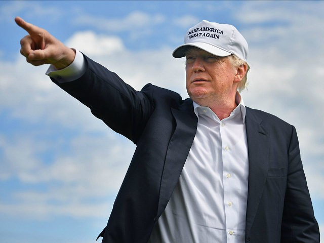 ABERDEEN, SCOTLAND - JUNE 25: Presumptive Republican nominee for US president Donald Trump visits Trump International Golf Links on June 25, 2016 in Aberdeen, Scotland. The US presidential hopeful was in Scotland for the reopening of the refurbished Open venue golf resort Trump Turnberry which has undergone an eight month refurbishment as part of an investment thought to be worth in the region of two hundred million pounds. (Photo by Jeff J Mitchell/Getty Images)