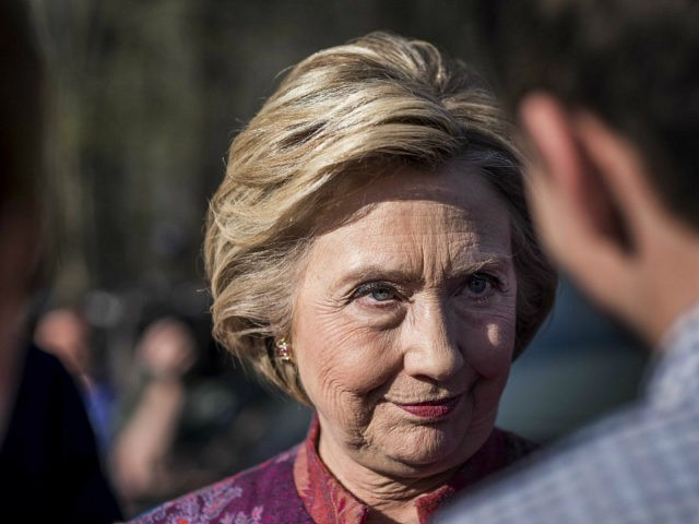 CHAPPAQUA, NY - After casting her vote on New York state primary day, former Secretary of State Hillary Clinton, along with her husband President Bill Clinton, greets friends and supporters at a polling place in Chappaqua, New York on Tuesday April 19 2016. (Photo by Melina Mara/The Washington Post via …