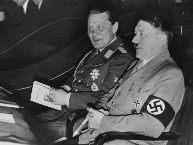 1934: German Nazi dictator, Adolf Hitler (1889 - 1945) (right) with Nazi Field Marshal, Hermann Goering (1893-1946). (Photo by Central Press/Getty Images)