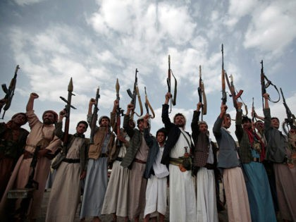 Tribesmen loyal to Houthi rebels hold their weapons during a gathering aimed at mobilizing more fighters into battlefronts in several Yemeni cities, in Sanaa, Yemen, Monday, June 20, 2016. Yemen's civil war has killed some 9,000 people since March 2015 — a third of them civilians, according to the United …