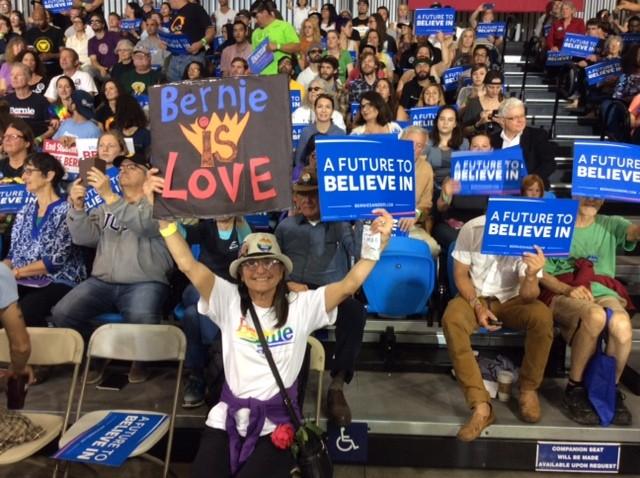 Bernie Sanders supporter in Santa Cruz (Adelle Nazarian / Breitbart News)