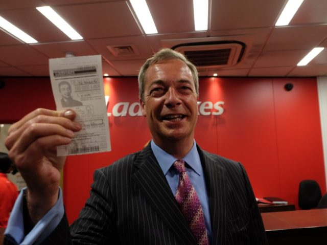 Farage shows betting slip after placing bet on brexit