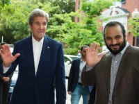 UNITED STATES, Washington : US Secretary of State John Kerry (L) greets Saudi Deputy Crown Prince Mohammed bin Salman outside Kerry's residence prior to their meeting on June 13, 2016, in Washington, DC. / AFP PHOTO / MOLLY RILEY
