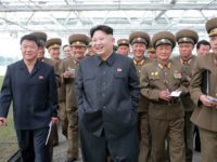 This undated picture released from North Korea's official Korean Central News Agency (KCNA) on May 15, 2016 shows North Korean leader Kim Jong-Un (C) inspecting tree nursery No. 122 of the Korean People's Army at an undisclosed location. / AFP / KCNA VIA KNS / KCNA / South Korea OUT …