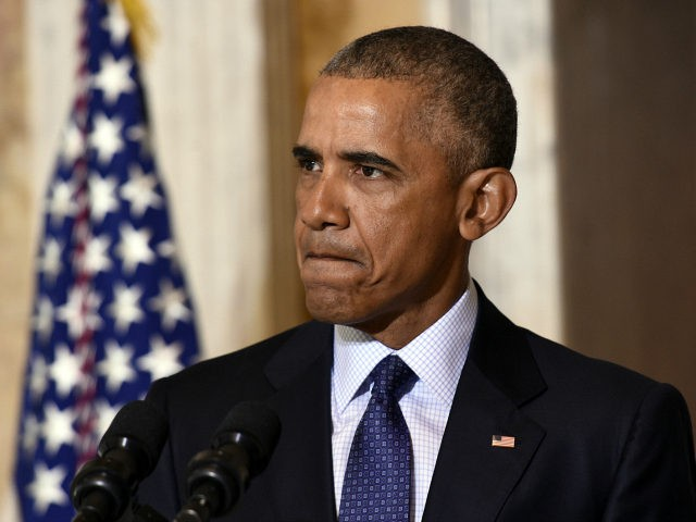 President Barack Obama pauses while speaking at the Treasury Department in Washington, Tuesday, June 14, 2016, following a meeting with his National Security Council to get updates on the investigation into the attack in Orlando, Florida and review efforts to degrade and destroy ISIL. (AP Photo/Susan Walsh)