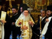 ISTANBUL, TURKEY - MAY 24: Ecumenical Patriarch Bartholomew I, the spiritual leader of the world's Orthodox Christians, participates in a pan-Orthodox synod to decide whether to stop recognizing the beleaguered patriarch of Jerusalem, Irineos I, at the Patriarchal Cathedral of St. George on May 24, 2005 in Istanbul, Turkey. Representatives …