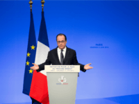 French President Francois Hollande delivers a speech at the opening of an international meeting in a bid to revive the Israeli-Palestinian peace process in Paris, on June 3, 2016.