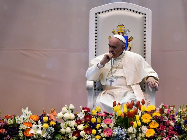 Pope Francis attends a meeting with the world of labour at the Bachilleres College in Ciudad Juarez, Mexico on February 17, 2016.