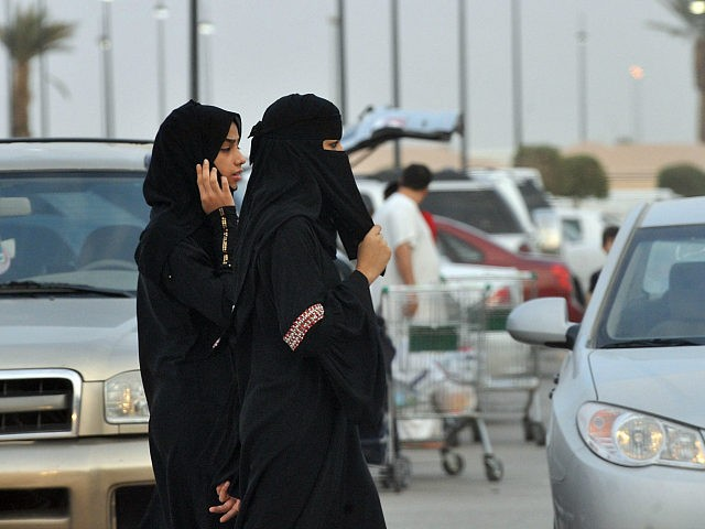 Saudi women walk outside a shopping mall in Riyadh on June 22, 2012. Saudi female activists have cancelled their plan to brave a driving ban, settling instead for petitioning King Abdullah to allow them to get behind the wheel, members of their group said. AFP PHOTO/FAYEZ NURELDINE (Photo credit should read FAYEZ NURELDINE/AFP/GettyImages)