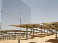 A picture taken on May 26, 2016, shows some of the 55,000 mirrors directing sunlight toward the Ashalim solar tower which is under construction near the southern Israeli kibbutz of Ashalim in the Negev desert.