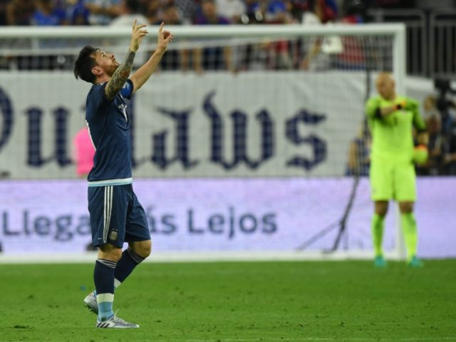 Argentina's Lionel Messi celebrates after scoring against the US during their Copa America Centenario semifinal football match in Houston, Texas, United States, on June 21, 2016.