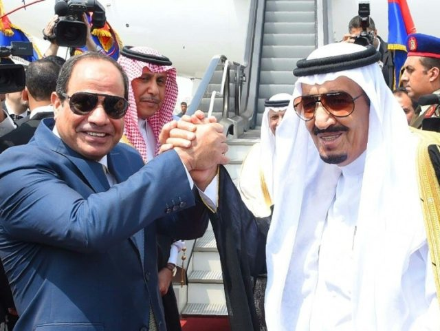 Egyptian President Abdel Fattah al-Sisi (left) sparked protests when he handed over two islands to Riyadh after trade talks with Saudi King Salman in April 2016