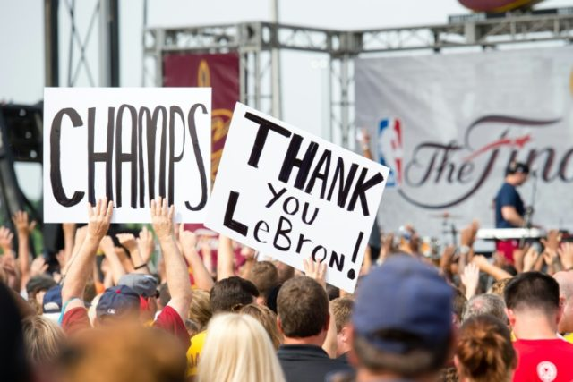 Fans greet the Cleveland Cavaliers players on June 20, 2016 in Cleveland, Ohio
