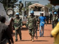 Soldiers from MINUSCA (UN Mission in the Central African Republic) patrol in Bangui on December 10, 2015