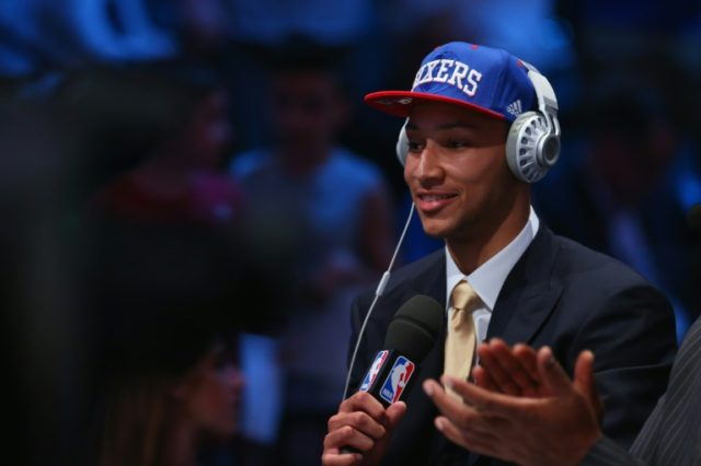 Ben Simmons is interviewed after being drafted first overall by the Philadelphia 76ers in the first round of the 2016 NBA Draft, at the Barclays Center in New York, on June 23