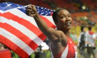 Carmelita Jeter was a member of the American 4x100m relay team at the London 2012 Olympics which set a world record en route to a gold medal