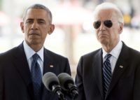 US President Barack Obama speaks alongside Vice President Joe Biden after placing flowers for the victims of the mass shooting at a gay nightclub at a memorial for the Performing Arts in Orlando, Florida, June 16, 2016