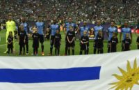 Before kick-off, Uruguay's players looked baffled as Chile's national anthem was played by mistake