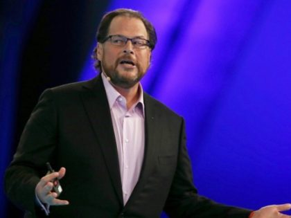 "Salesforce CEO Marc Benioff, pictured on October 14, 2014, said, ""Demandware is an amazing company -- the global cloud leader in the multibillion dollar digital commerce market"""