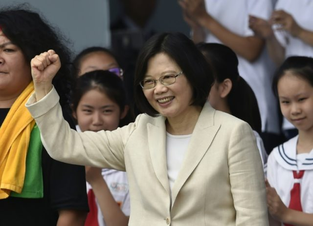 Taiwan President Tsai Ing-wen greets supporters during her inauguration ceremony in Taipei, on May 20, 2016