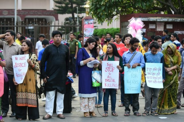 Protesters demonstrate against the killing of a university professor in Dhaka on April 29, 2016 -- there has been a wave of murders of liberals, secular activists and religious minorities by suspected Islamist militants in Bangladesh