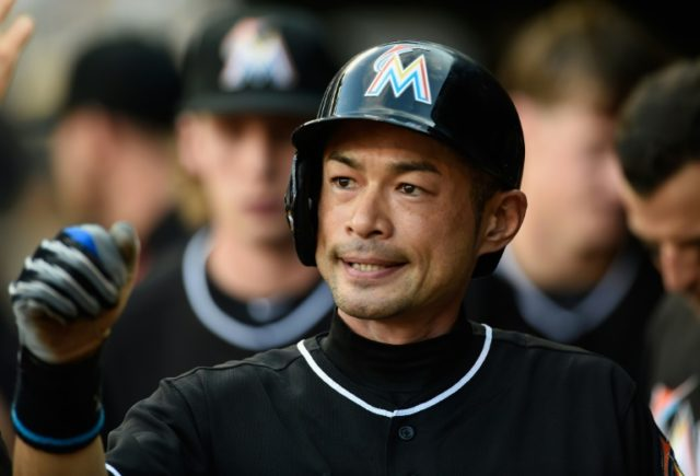 Miami Marlins outfielder Ichiro Suzuki celebrates scoring a run against the Minnesota Twins, on June 9, 2016