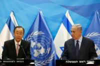 Israeli Prime Minister Benjamin Netanyahu (right) with UN chief Ban Ki-moon in Jerusalem on June 28, 2016