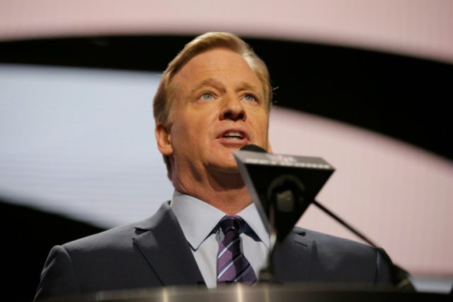 NFL Commissioner Roger Goodell speaks during the first round of the 2016 NFL Draft on April 28, 2016 in Chicago, Illinois
