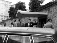 U.S. President Ronald Reagan being shoved into the President's limousine by secret service agents after being shot outside a Washington hotel Monday, March 30, 1981. (AP Photo/Ron Edmonds)