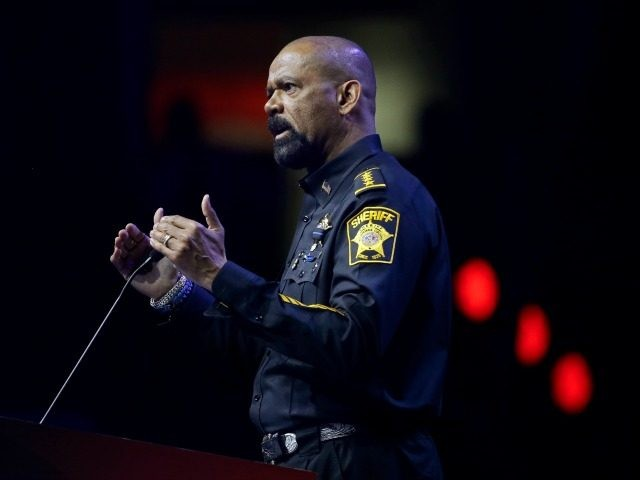 Sheriff David Clarke, Jr., of Milwaukee County, Wisc., speaks at the National Rifle Association convention Friday, May 20, 2016, in Louisville, Ky