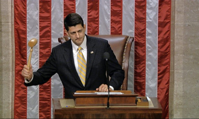 In this image from video provided by House Television, House Speaker Paul Ryan gavels the House into session Wednesday night, June 22, 2016, in Washington. Rebellious Democrats staged an extraordinary all-day sit-in on the House floor to demand votes on gun-control bills, shouting down Ryan when he attempted to restore …