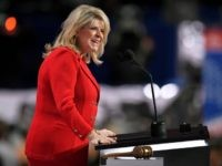 Sharon Day, Co-Chair of the Republican National Committee speaks during the opening day of the Republican National Convention in Cleveland, Monday, July 18, 2016. (
