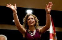 DNC Chairwoman, Debbie Wasserman Schultz, D-Fla., arrives for a Florida delegation breakfast, Monday, July 25, 2016, in Philadelphia, during the first day of the Democratic National Convention. (AP Photo/Matt Slocum)