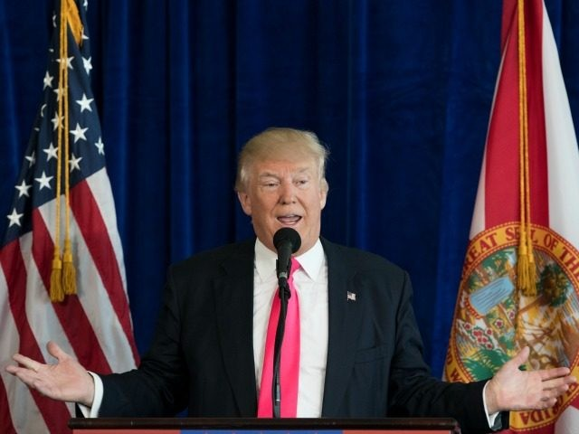 Republican presidential candidate Donald Trump speaks during a news conference at Trump National Doral, Wednesday, July 27, 2016, in Tampa, Fla. (