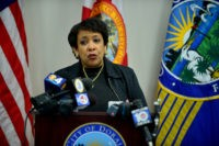 DORAL, FL - FEBRUARY 11: Attorney General Loretta E. Lynch visits the Doral Police Department as part of her second phase of her national Community Policing Tour. The Second Phase tour is to Highlight Six Jurisdictions Effectively Implementing Recommendations from the President Barack Obama Task Force on 21st Century Policing Final Report on February 11, 2016 in Doral, Florida.  Credit: MPI10 / MediaPunch/IPX