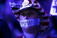 PHILADELPHIA, PA - JULY 25: on the first day of the Democratic National Convention at the Wells Fargo Center, July 25, 2016 in Philadelphia, Pennsylvania. An estimated 50,000 people are expected in Philadelphia, including hundreds of protesters and members of the media. The four-day Democratic National Convention kicked off July 25. (Photo by Chip Somodevilla/Getty Images)