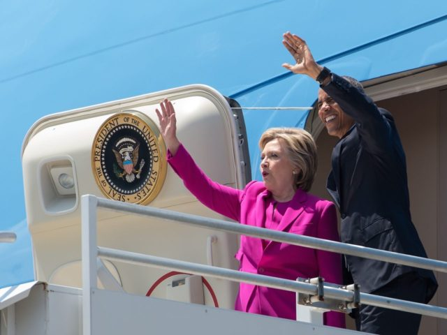 Clinton Obama Air Force One (Nicholas Kamm / AFP / Getty)